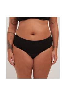 Calcinha Alta Lisa Com Renda Curve & Plus Size | Ashua Curve E Plus Size | Preto | 48