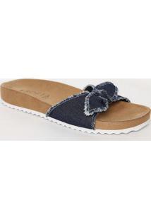 Sandã¡Lia Rasteira Com Jeans - Azul & Marrom - Vixvix