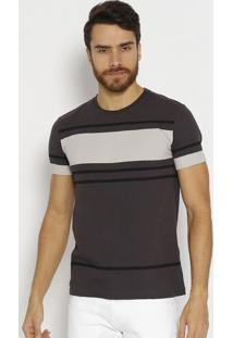 Camiseta Slim Listrada - Cinza Escuro & Pretacalvin Klein