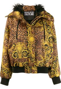Versace Jeans Couture Baroque Pattern Hooded Jacket - Dourado