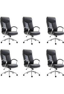 Conjunto Com 6 Cadeiras De Escritório Presidente Evergreen Preto