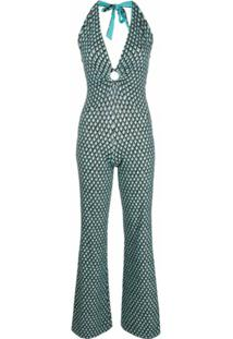 Fisico Geometric-Print V-Neck Jumpsuit - Azul