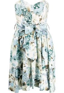 P.A.R.O.S.H. Vestido Reto Mini Com Estampa Floral - Azul