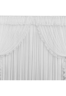 Cortina Romance 3M- Branco Bordados Ricardo