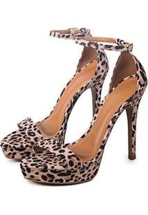 Sandália Kessy Leopard Salto Alto Feminina - Feminino-Marrom