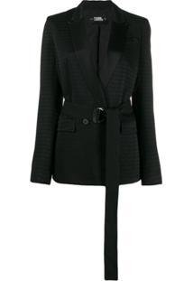 Karl Lagerfeld Blazer Cameo Com Cinto - Preto
