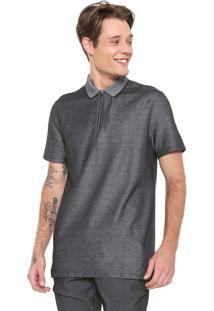 Camisa Polo Calvin Klein Reta Zíper Cinza