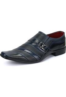 Sapato Social Rebento Bico Fino Verniz Azul