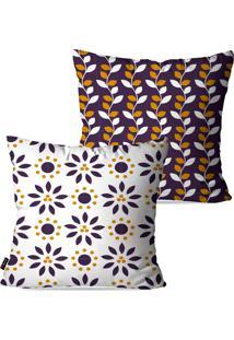 Kit Com 2 Capas Para Almofadas Pump Up Decorativas Branco Flores Abstrato 45X45Cm