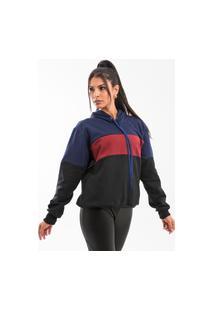 Blusa De Moletom Feminina Capuz Bolso Canguru Color Preto, Vermelho, Azul Marinho Fechada