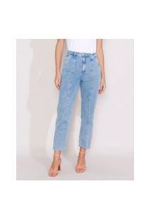 Calça Jeans Feminina Reta Cintura Super Alta Com Recorte Azul Claro