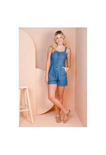 Macacão Sisal Jeans Curto C/ Alças E Botões Azul