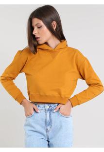 Blusão Feminino Básico Cropped Com Capuz Em Moletom Caramelo