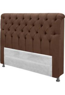 Cabeceira De Casal Imperatriz 160Cm Capitone Suede Marrom Chocolate - Velvet Marrom