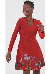 Vestido Desigual Curto Floral Vermelho