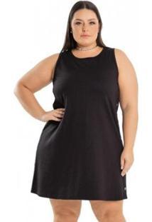 Vestido Ponto Roma Com Botões Laterais Miss Masy Plus Size Feminino - Feminino-Preto