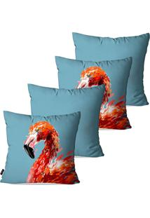 Kit Com 4 Capas Para Almofadas Pump Up Decorativas Azul Flamingo 45X45Cm