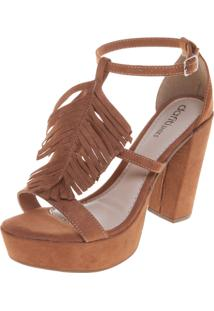 Sandália Dafiti Shoes Meia-Pata Franjas Caramelo