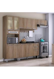 Cozinha Itatiaia Cacau Com 8 Portas Vidro Reflecta E Suporte Para T.