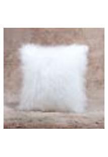 Capa De Almofada Branca Pelo Alto Peluda 45Cm X 45Cm 2 Unidades Com Zíper Invisível