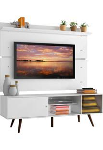 Rack Madesa Cairo E Painel Para Tv Até 65 Polegadas Com Pés De Madeira - Branco/Rustic Branco
