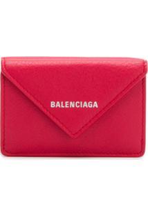 Balenciaga Carteira Mini Papier De Couro - Vermelho