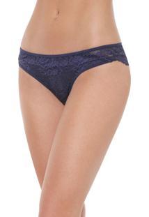 Calcinha Calvin Klein Underwear Tanga Renda Azul-Marinho