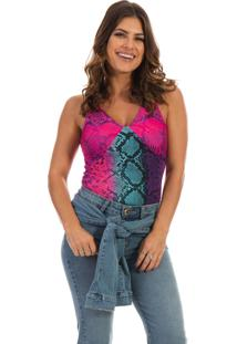 Blusa Dioxes Jeans Com Estampa Animal Print Rosa