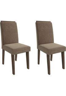 Conjunto Com 2 Cadeiras De Jantar Taís Suede Marrocos E Pluma