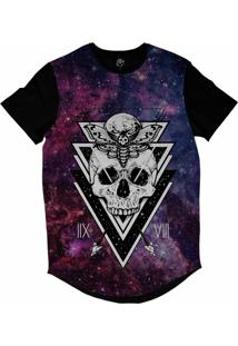 Camiseta Longline Bsc Galáxia Caveira Borboleta Lua Sublimada Colors