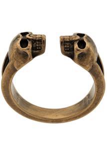 Alexander Mcqueen Anel 'Twin Skull' - Dourado