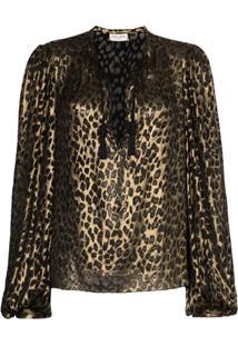 Saint Laurent Lurex Leopard-Pattern Blouse - Metálico