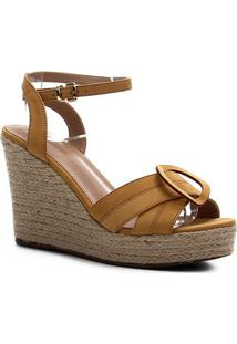 Sandália Couro Shoestock Anabela Entrelaço Feminina - Feminino-Amarelo