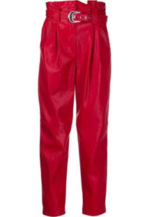 Pinko Carrot-Fit Faux-Leather Trousers - Vermelho