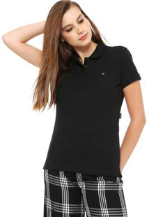 258e0cbaa5e0b Camisa Pólo Acinturada Preta feminina   Gostei e agora