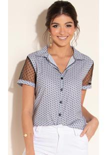 Blusa Azulejo Com Botões Na Frente