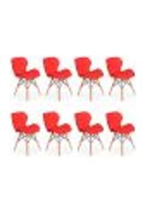 Kit 08 Cadeiras Charles Eames Eiffel Slim Wood Estofada - Vermelha