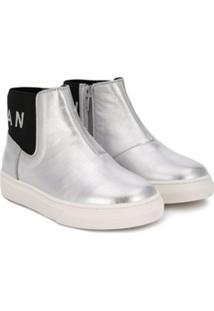 Hogan Kids Metallic Ankle Boots - Metálico