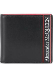 Alexander Mcqueen Carteira Dobrável Com Logo - Preto