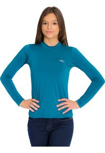Camiseta Térmica Manga Longa Mprotect Azul Petróleo