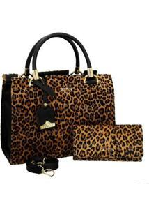 Kit Bolsa Onça Handbag Transversal + Carteira Feminina - Feminino-Preto+Amarelo