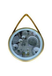 Espelho Dourado Led 30Cm Iluminaçáo Alça Alumínio - Amigold