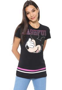 Blusa Cativa Disney Mickey Bashful Preta