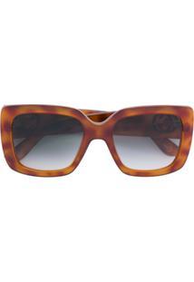 3704fb038b4ce Farfetch. Gucci Eyewear Óculos De Sol Armação Estampada - Marrom