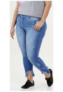 d0727640cb38b5 Marisa Calça Feminina Jeans Capri Desfiada Plus Size Razon