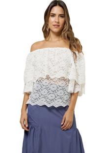 Blusa Mx Fashion De Renda Ombro A Ombro Anne Off White - Kanui