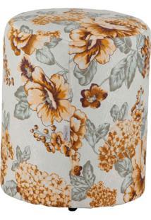 Puff Redondo Round Jacguard Floral Amarelo Ii