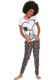 Pijama Snoopy Corações Branco/Preto