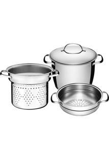 Jogo De Panelas Multi Cooker 3 Pçs Tramontina 65650070 Allegra Inox