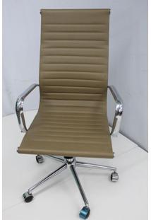 Cadeira Office Outlet Estofada Alta Caramelo Cromada - 5 - Sun House